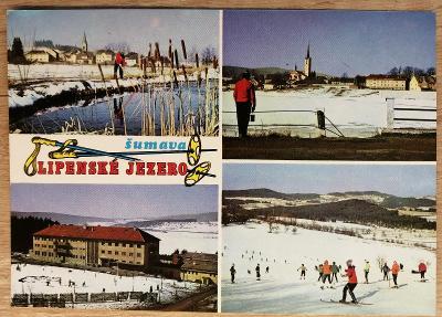Pohlednice okénková Šumava 1974 - Lipenské jezero
