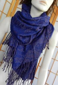 Šátek pashmína jako nová 70x172+tř modro fialový paisley vzor