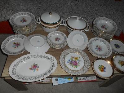 retro krasný starý jidelní servis talíře terina konvolut porcelán
