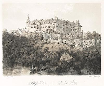 Žleby, Haun, litografie, 1860