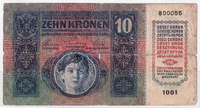 10 Kronen (Korona) 1915 bez přetisku - první série 1001 !