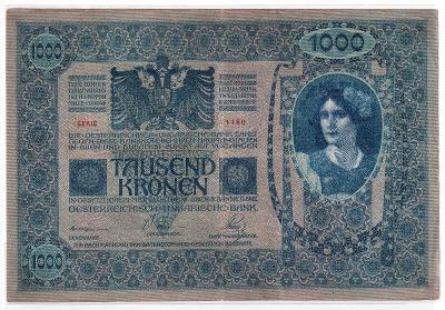 1000 Kronen (Korona) 1902 - série 1160 - bez přetisku, šedozelená