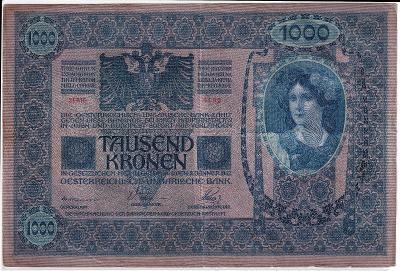 1000 Kronen (Korona) 1902 - série 1183 - bez přetisku, šedorůžová