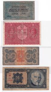 sestava (4 kusy) - státovky a bankovky 1. a 2. emise (1919 - 1926) !