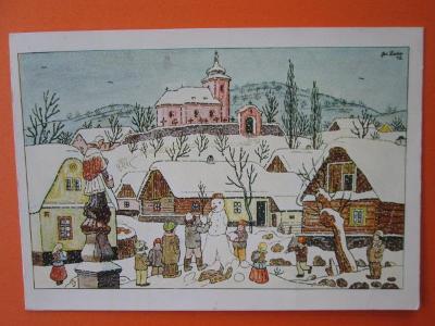 Josef Lada - Vánoce - vesnička - kostelík - děti - sněhulák