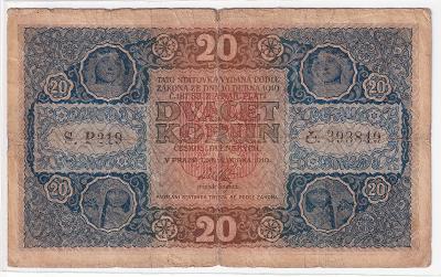 20 Kč 1919 vzácnější státovka - série P 219 !