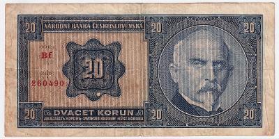 20 Kč 1926 NEPERFOROVANÁ - série Bf