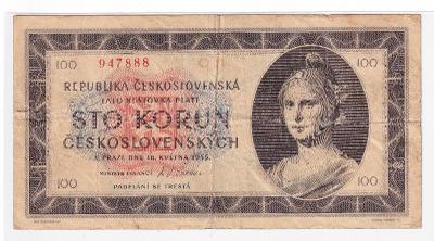 100 Kčs 1945 NEPERFOROVANÁ - série C 11