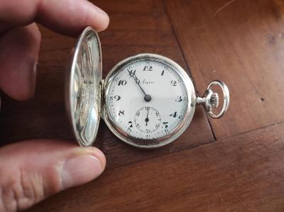Staré krásné stříbrné kapesní hodinky AERA - funkční - 3 plášťové