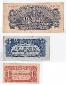 3 kusy - československé korunové poukázky neperforované 1,5,20K 1944