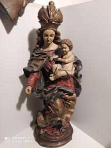Madona s dítětem, 70cm !!! vysoká masivní plastika v barokním stylu