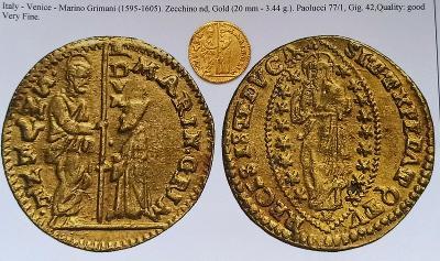 Zlatý Nádherný dukát Itálie Marino Grimani 1595-1605❗3.44g 999.9Au