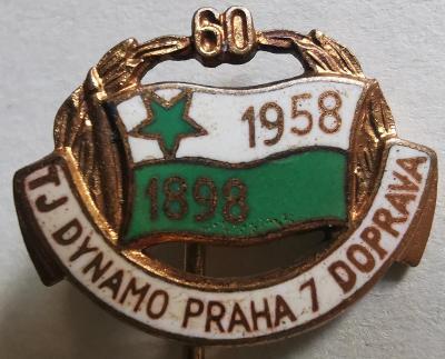 Odznak T. J. Dynamo Praha 7 doprava 1898-1958