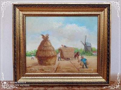 *** Starožitný dřevěný obraz olejomalba - sedláci na poli , sign.  ***