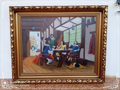 *** Top luxusní dřevěný zdobený obraz olejomalba - mušketýři ***