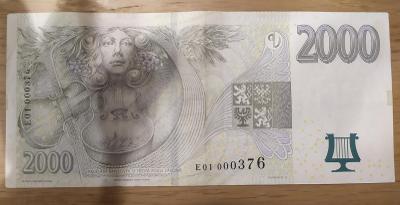 Nejvzácnější novodobá bankovka 2000 Kč, série E01! Od korunky!!!
