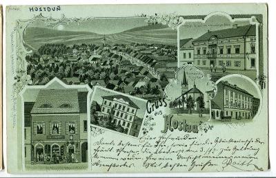 Hostouň, Hostau, Domažlice, litografie