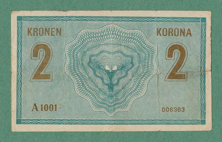 RAKOUSKO- UHERSKO - 2 koruny, 1914, serie A - stav 3 - platila v ČSR - Bankovky