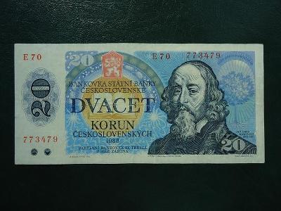 20 korun 1988 Serie E 70  Neperforovana