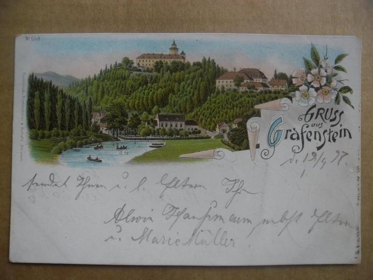 Hrádek nad Nisou Grottau Liberec Grabštejn ozdobná LITO DA - Pohlednice