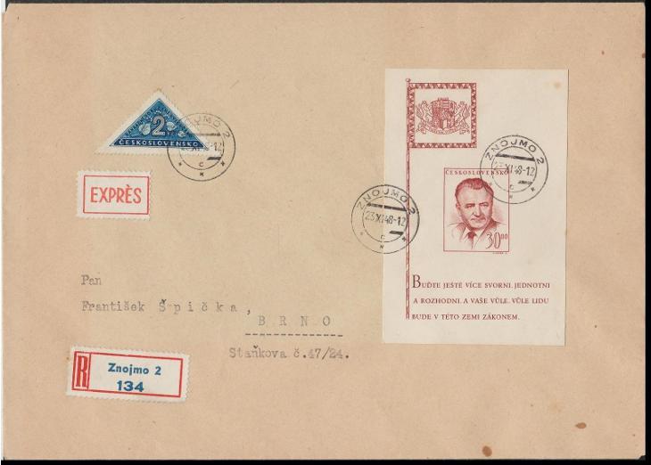 ČSR II. - dopis R + Expres --- Aršík Gottwald + doruční známka (!) - Filatelie