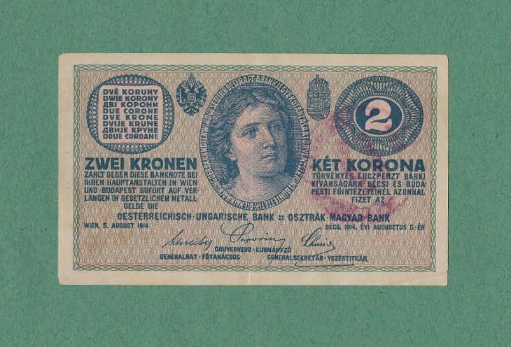 RAKOUSKO- UHERSKO - 2 koruny, 1914, serie C - NEPLATNÉ - platila v ČSR - Bankovky