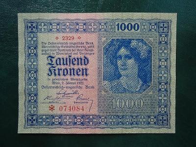 1000 Kronen 1922 Bez Pretisku  UNC