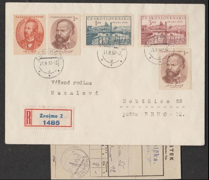 ČSR II. - R dopis s podacím lístkem - Filatelie