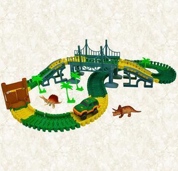 Dinosauří autodráha se svítícím autíčkem a dinosaury / (7280)