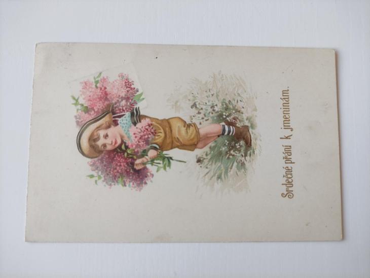 Pohled - pohlednice - chlapec, dívka, kytky - přání - známka Masaryk - Pohlednice
