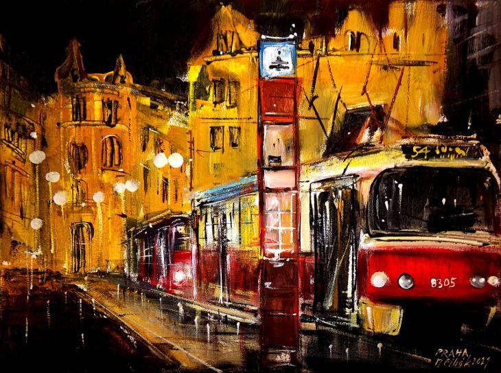 Praha - Noční tram - orig. akryl 40x30 cm - Umění