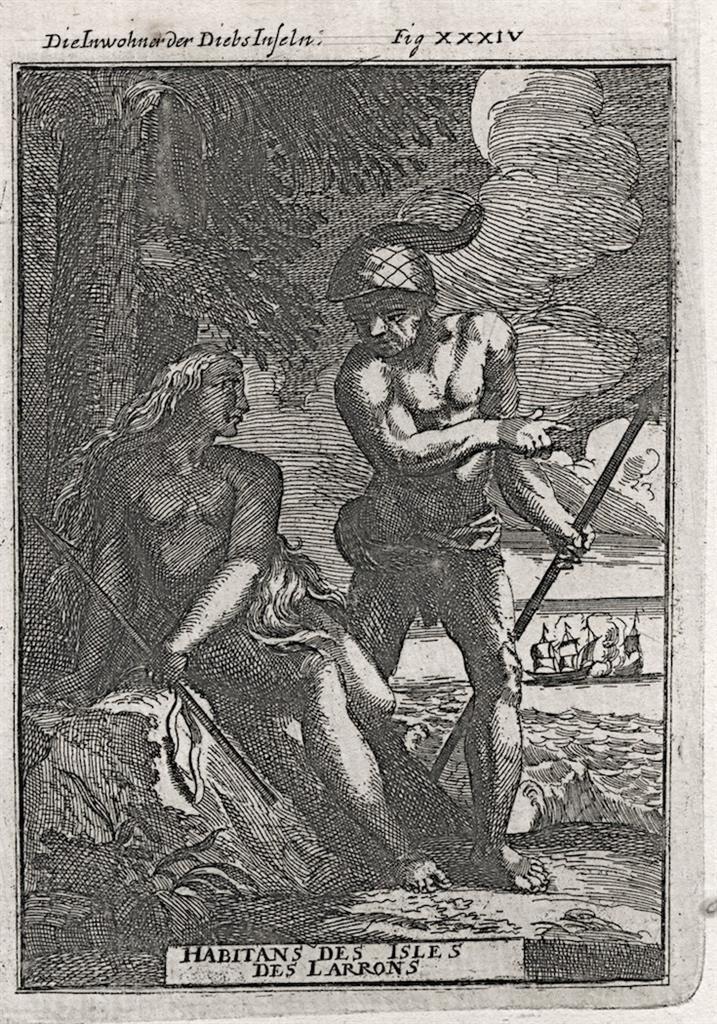 Mariany ostrovy obyvatelé, Mallet, mědiryt, 1719 - Antikvariát