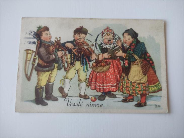 Pohled - pohlednice - veselé vánoce, koledníci,kapela, folklór - mf - Pohlednice