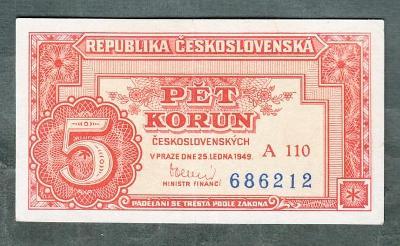 5 kčs 1949 serie A110 neperforovana stav 1