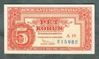 5 kčs 1949 serie A19 neperforovana stav 0