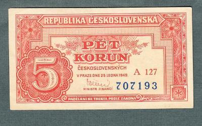 5 kčs 1949 serie A127 neperforovana stav 0