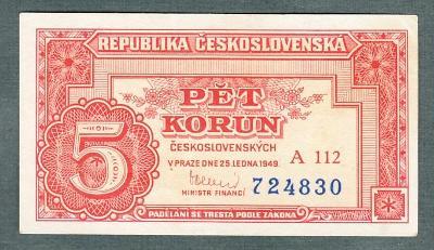 5 kčs 1949 serie A112 neperforovana stav 1