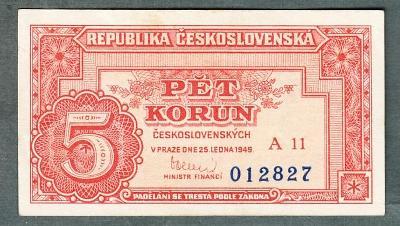 5 kčs 1949 serie A11 neperforovana stav 1+