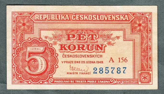 5 kčs 1949 serie A156 neperforovana stav 0 - Bankovky