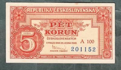 5 kčs 1949 serie A100 neperforovana stav 1+