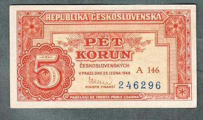 5 kčs 1949 serie A146 neperforovana stav 0