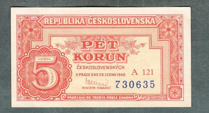 5 kčs 1949 serie A121 neperforovana stav 0 - Bankovky