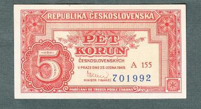 5 kčs 1949 serie A155 neperforovana stav 1+