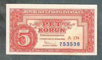 5 kčs 1949 serie A134 neperforovana stav 0