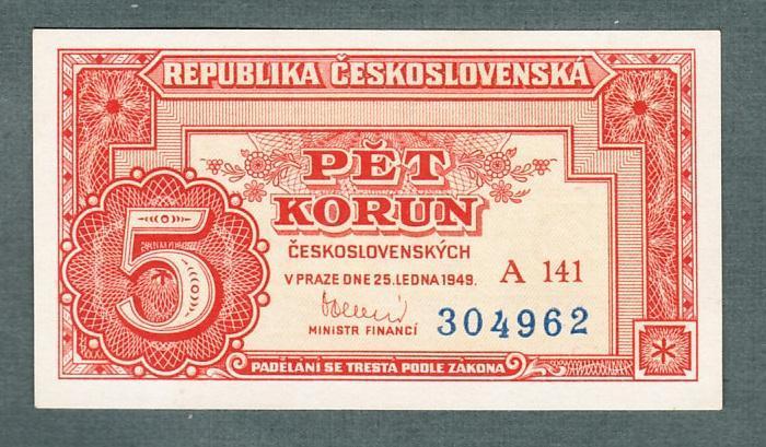 5 kčs 1949 serie A141 neperforovana stav 1 - Bankovky