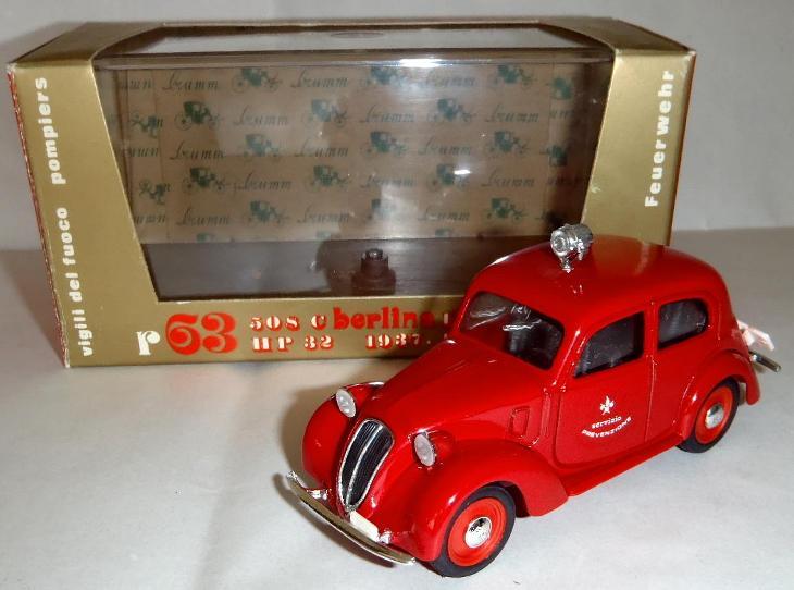Hasiči- kovový model BRUMM - Fiat 508 C Berlina 1100 - Pompieri - 1:43 - Modelářství