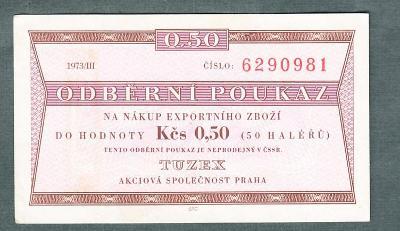 TUZEX 0,5hal 3/1973 stav 0