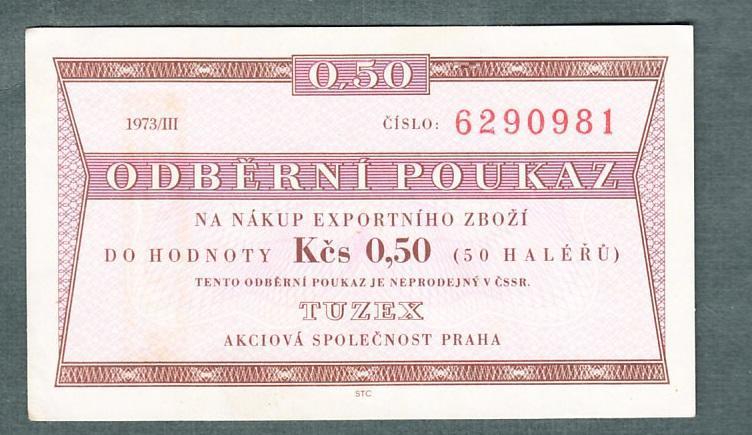 TUZEX 0,5hal 3/1973 stav 0 - Bankovky