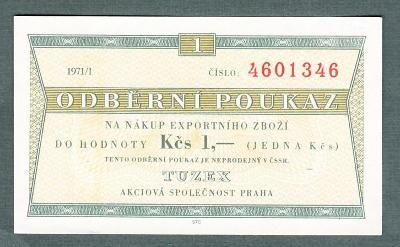 TUZEX 1 kčs 1/1971 stav UNC