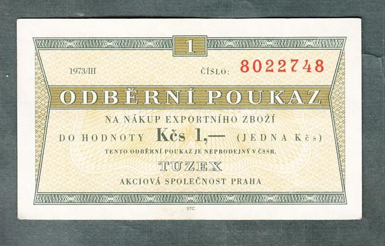 TUZEX 1 kčs 3/1973 stav 0 - Bankovky